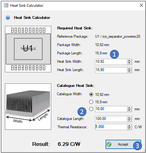 PCBI Physics Heat Sink Calculator