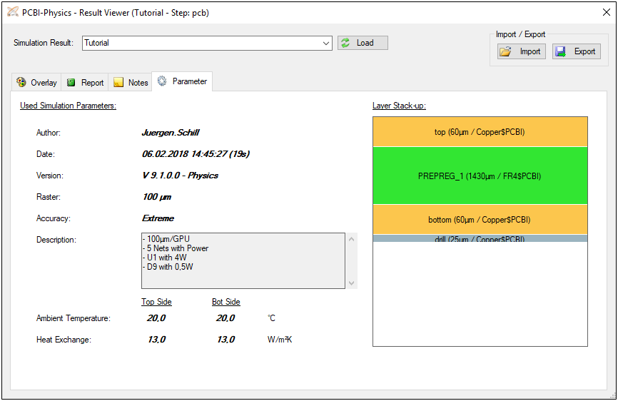 PCBI Physics Result Viewer Parameter